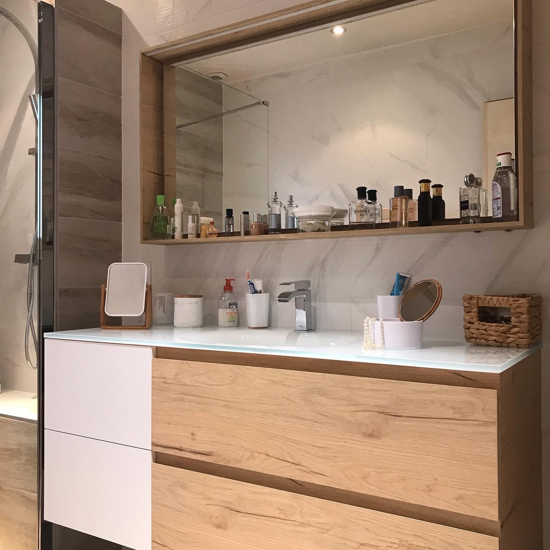 salle bain boheme chic mobilier vasque miroir
