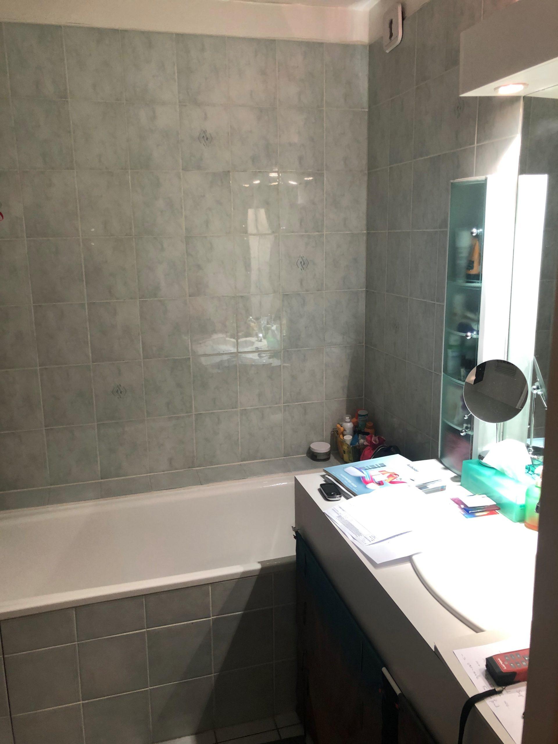 projet salle bain originale coloree baignoire mobilier avant