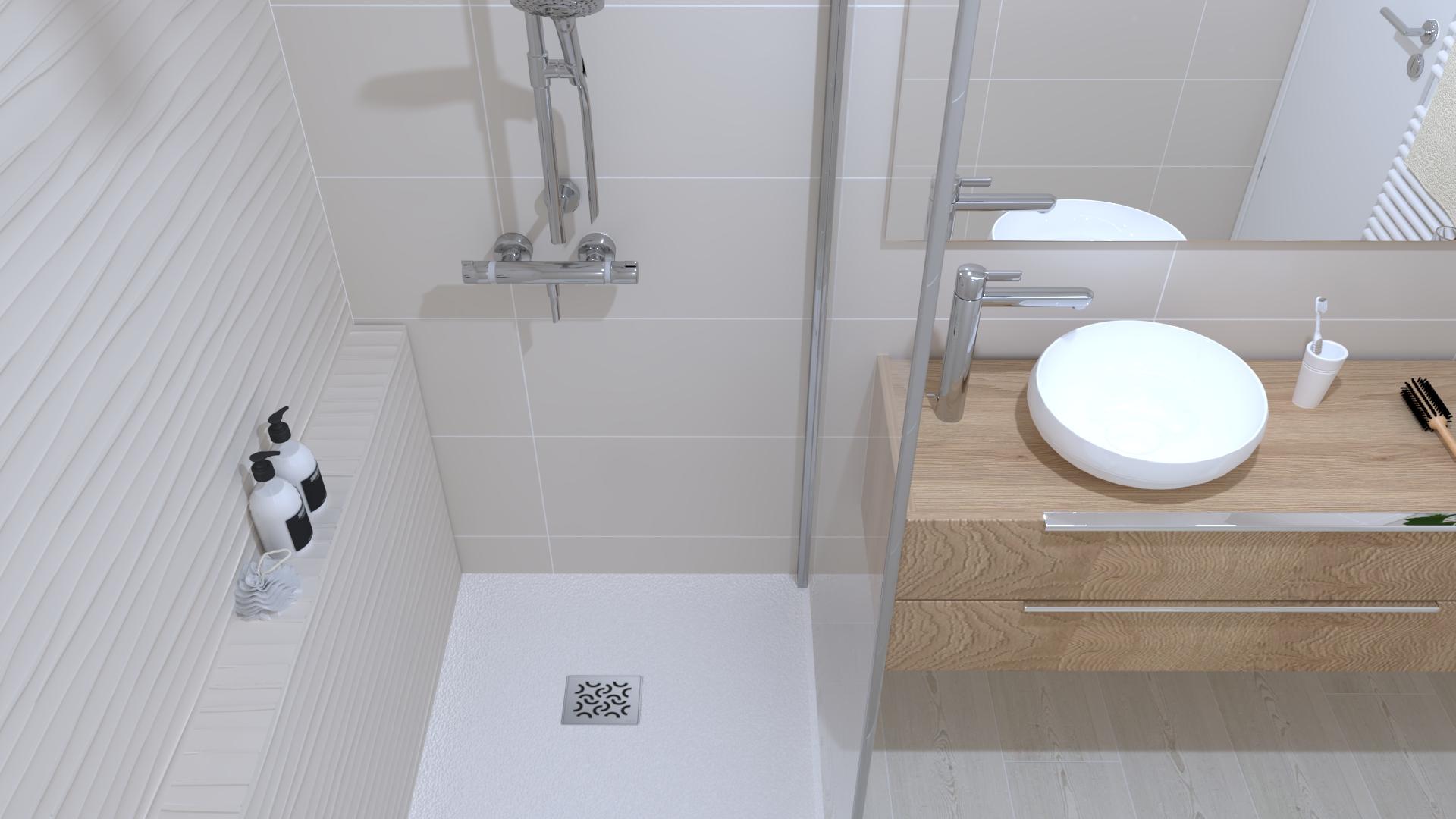 projet salle bain nature zen douche vasque meuble